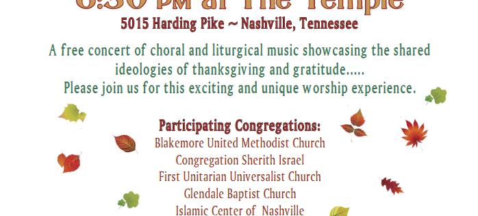Interfaith Thanksgiving Concert, Nov. 19