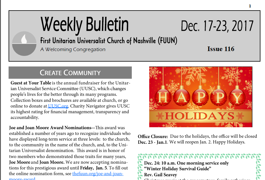 weekly bulletin first unitarian universalist church of nashville